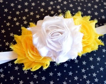 Yellow & White Baby Headband. Flower Headband, Baby Girls Hair Accessories, Baby Hair Accessories, Yellow and White Flower Headband