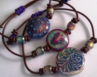 Colour Changing Mirage Leather Wristband Bracelets Australian Design -  Free Mood Ring