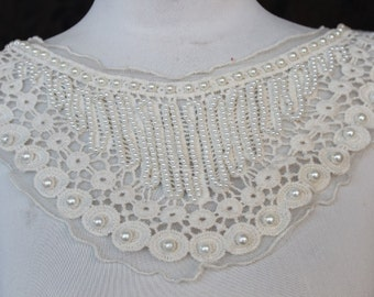 Cute venice beaded applique ivory   color   1 pieces listing