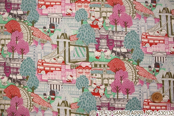 Liberty tana lawn - Hello Kitty printed in Japan -Capital Hello Kitty - Red  10cm length  --- Minimum Purchase 30cm