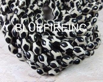 28 pcs beads 10x14mm black white color berral shape Tibetan agate beads