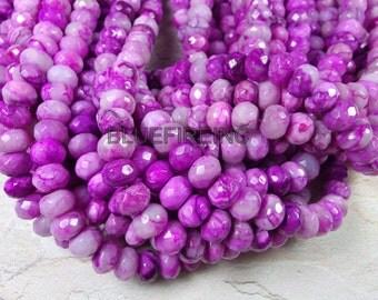 48 pcs 8x12mm faceted purple color rondelle shape crazy lace agate beads