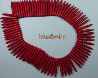 1 Strand Red Howlite Needles 40mm x 5mm