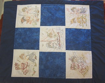 Blue Children at Play (Baby Quilt)- QuiltsbyShirley