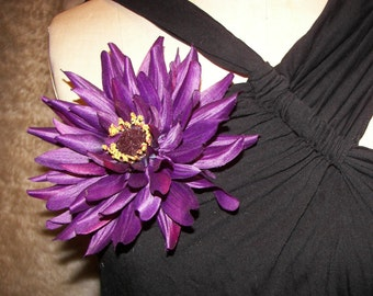 Striking Purple Dahlia Floral Pin