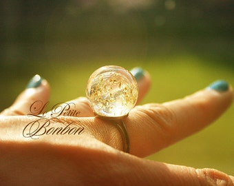 Dandelions dried pollen  glass ball ring