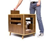 Dwell Dog Crate /// Mid Century Modern Pet Furniture // Dog House // Side Table
