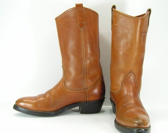 cowboy boots womens 10 honey brown vintage Mason union made usa leather western cowgirl