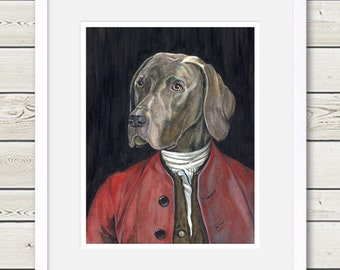 Weimaraner Art - Weimaraner Houdon Painting - Weimaraner portrait, Dog Art, dog painting, dog home decor, dog portrait