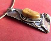 modernist vintage 1970s organic design handcrafted soldered brass choker and pendant with large stone setting