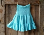 turquoise blue hand knit skirt full tiered // womens size small, medium