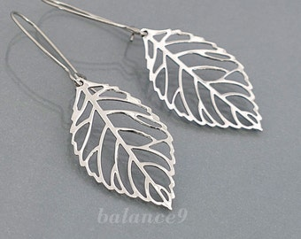 Silver Leaf Earrings, Filigree leaf drop earrings delicate dangle, bridesmaid gift wedding, simple everyday jewelry, by balance9