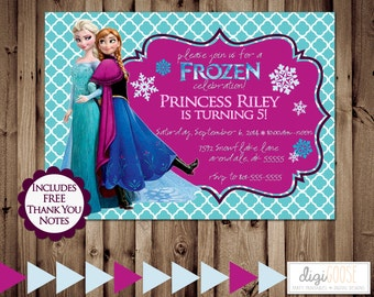 Printable FROZEN Birthday Party Invitation with FREE Thank you cards -- Digital File -- 24 hour turnaround