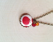 Reserved for Jennystarray - Two teacher pet charm necklaces Upcycled Button Charm Necklace - Teacher gifts for her - Back to School - Apples
