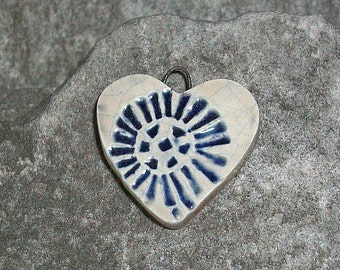 Ceramic Heart Charm/Pendant Flower Blue