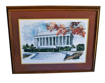Paul N. Norton Framed Print on Watercolor Paper, Lincoln Memorial