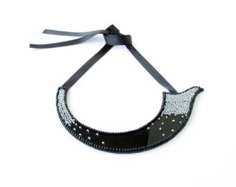 Ζen Necklace -Avant Garde Necklace-Couture-Bib Beaded Necklace-Couture Jewellery