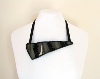 Avant Garde Necklace-Couture-Black Beaded Necklace-Wave Black Necklace-Neckpiece-Avant Garde Jewelry