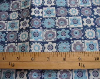 Vintage FABRIC Home Decorator Floral Blues Geometric