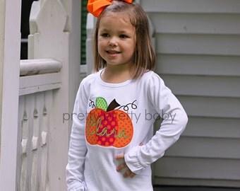 pretty pink and orange pumpkin appliqué shirt
