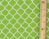 Lime Green Quadrefoil/ Lattice/ Quatrefoil Cotton Fabric Sold in 1/4, Half, 3/4, a Yard or a Yard for Quilting/ Sewing/ Craft/ Applique/