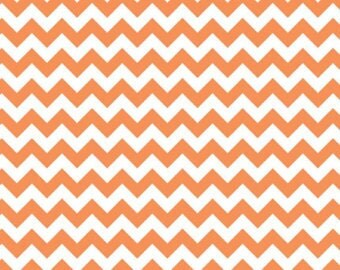 Orange Small Chevron or Zig Zag Cotton Fabric in 4th, Half 3/4 and Yard by Riley Blake for Quilting/ Sewing/  Applique/ Craft Sewing