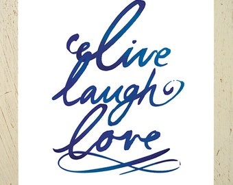 Live laugh love typographic print - navy blue. Modern inspirational quote print by Erupt Prints