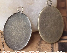20 Pendant trays- Brass Antique Bronzed Oval Saw-Toothed Bezel Cup Cabochon Mountings- 13x18mm/ 18x25mm/ 30x40mm As your choice