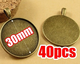 40PCS 30mm Round Pendant Trays, Antique Bronzed Tone Cabochon Mountings Wholesale- HA3540
