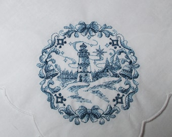 Christmas Linen Bread Basket Liner with Lighthouse and Bells
