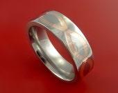 Titanium and 14k Rose Gold Infinity Weave Ring Band Custom Made Any Sizing and Finish