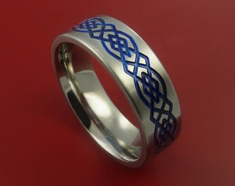 Titanium Celtic Band Infinity Design Ring Any Size 3 to 22 Blue, Red. Green, Black Inlay