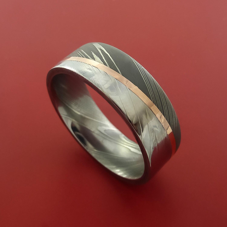 Damascus Steel Diagonal 14k Rose Gold Ring Wedding Band Custom