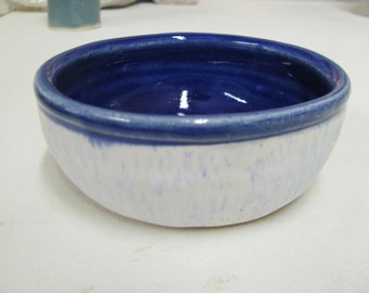 Bowl Dipping Bowl Kitchen Stoneware Kitchen Dining Jewlery Holder Dish Blue pot Prep Bowl Ceramic Pottery Handmade Blue and White Stoneware