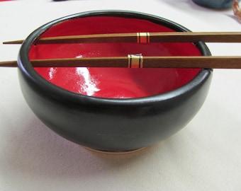Bowl Ceramic Bowl Kitchen Tableware Stoneware Serving Bowl Rice Bowl  Ceramic Pottery  Noodle Bowl  Handmade Stoneware Pottery Red and Black