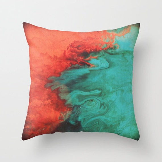 Teal and Coral Throw Pillow Pillow cover Modern by LizMosLoft