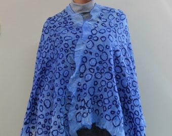 Nuno felted blue silk scarf  handmade silk wool nunofelt scarf felted shawl circles  gift idea, made in Europe white scarf bright blue Ocean