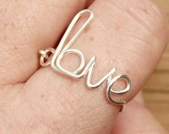 Wire Word Ring Adjustable Wire Ring, Word Ring LOVE Romance Non Tarnish Silver Plated Wire
