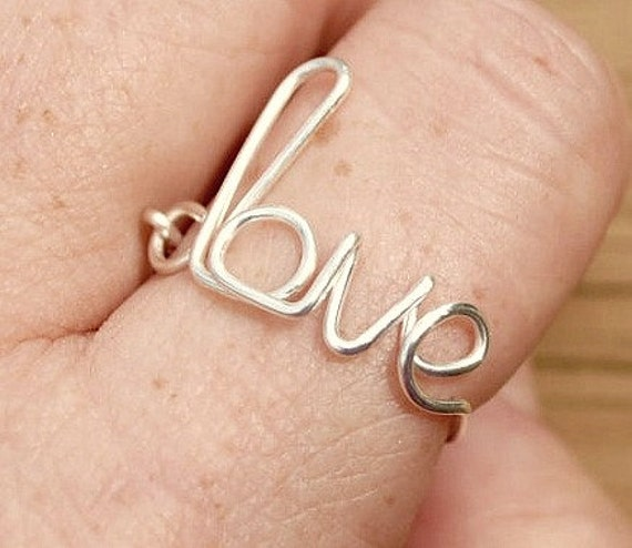 Wire Word Ring Wire Ring, Word Ring LOVE Romance Non Tarnish Silver Plated Wire