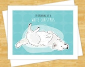 Dog Christmas Cards - Great Pyrenees Dreaming of a White Christmas - Dog Holiday Funny Christmas Cards