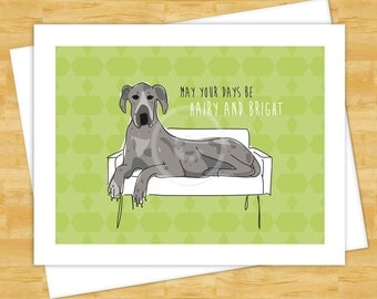 Dog Christmas Cards - Blue Merle Great Dane May Your Days Be Hairy and Bright - Happy Holidays Funny Christmas Cards