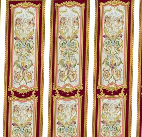 Victorian Wall Panels Wallpaper 1 12th Or 1 24th Scale 08