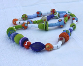 Colorful beaded necklace, polymer clay millefiori