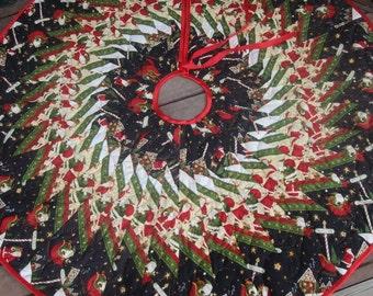 Christmas Tree Skirt , Santa's Big Night, Modern Tree Skirt, Christmas Decoration, Holiday Decor, Quilted Tree Skirt , Reversible