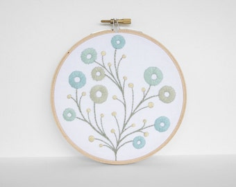 Mint and Sky Blue Satin Stitch Flowers with Yellow Pods, Hand Embroidery - 5 inch Embroidery Hoop Fiber Art in Primary Colors and White