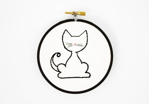 Simple Black Kitty Cat with a Curled Tail, Whiskers and a Tiny Pink Nose - 4 inch Embroidery Hoop Art