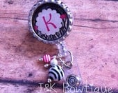 Badge reel - Your Initial on a Retractable Badge Reel
