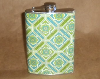 SALE Flask Blue, Green and White Caning Print Stainless Steel Girl Gift Flask 8 Ounces KR2D 6928