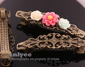 5PCS-60mmX15mm Antique Bronze Flower Filigree Pad With French Barrette Hair Clips(E341)