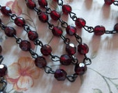 Bead Chain Garnet Red 4mm Fire Polished Glass Beads on Jet Black Beaded Chain - Qty 18 Inch strand